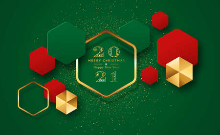 Merry Christmas Happy New Year 2021 modern luxury greeting card. Red and green 3D geometric shape illustration with gold glitter for fancy holiday party celebration. Ilustracja