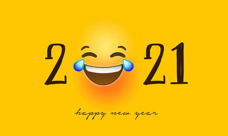 Happy New Year 2021 greeting card of funny 3d smiley face social icons. Fun chat reaction emoticon banner for holiday party celebration. Ilustracja