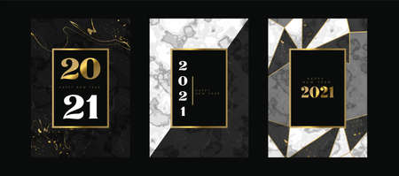 Happy New Year 2021 luxury greeting card set. Black marble texture collection with elegant gold decoration. VIP party invitation, fancy number date design for exclusive celebration event. Ilustracja