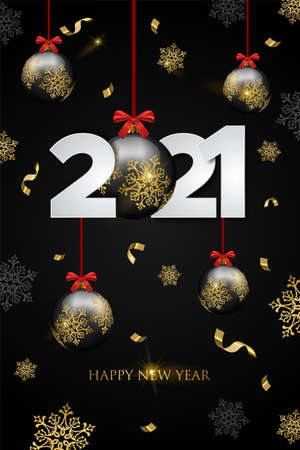 Happy New Year 2021 luxury party greeting card. Black and gold christmas ornament with winter snowflake falling. Holiday event premium design.