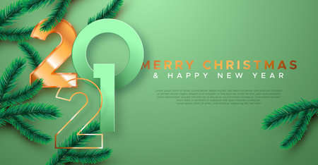 Merry Christmas Happy New Year 2021 greeting card template illustration. Luxury 3d gold number date sign on red background with xmas pine tree branch. Elegant holiday event invitation design.