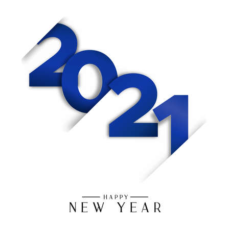 Happy New Year 2021 greeting card illustration. Blue calendar number sign and festive text quote with paper cut effect.