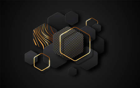 Abstract futuristic black background illustration with luxury gold geometric shapes. Empty modern backdrop, minimalist golden decoration for VIP product presentation, party event or premium design.