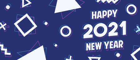 Happy New Year 2021 modern banner illustration. Calendar number quote and geometric shapes in holographic art style for web or cyber concept. Festive holiday eve design. Ilustracja