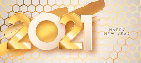 Happy New Year 2021 greeting card illustration. Realistic 3d gold number date sign on geometric honeycomb background with golden foil texture. Luxury party invitation design for special holiday event.