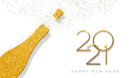 Happy new year 2021 luxury gold champagne bottle made of golden glitter dust. Ideal for greeting card or elegant holiday party invitation.
