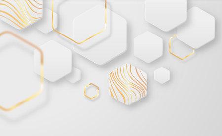 Abstract futuristic white background illustration with luxury gold geometric shapes. Empty modern backdrop design, minimalist golden decoration on blank copyspace surface. Ilustracja