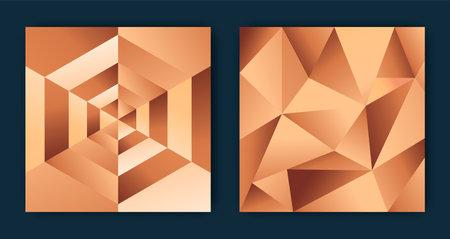 Abstract copper background illustration set. Luxury bronze or rose gold geometric shape design collection, elegant 3D low poly backdrop bundle.