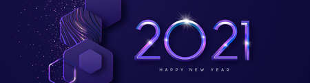 Happy New Year 2021 futuristic web banner illustration. Modern 3D geometric shape design with purple glitter and diamond calendar date number sign.