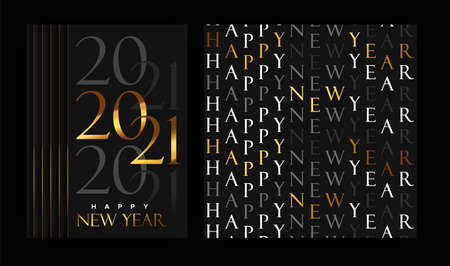 Happy New Year 2021 greeting card set. Vintage gold typography seamless pattern design with luxury calendar number date sign for elegant party event bundle.