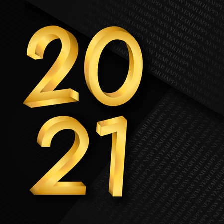 Happy New Year 2021 greeting card. 3D gold calendar number in luxury gold color with black  paper fold background for holiday event invitation or seasons greetings.