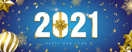 Happy New Year web banner, 3d 2021 number sign with gold gift box ribbon. Confetti, bauble ornaments and snowflakes on white background. Ilustracja