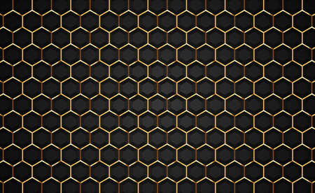 Gold and black luxury 3d background illustration, geometric hexagon shape backdrop. Empty honeycomb grid texture, modern golden VIP futuristic design. Ilustracja