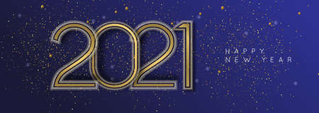 Happy New Year 2021 gold luxury web banner illustration. Calendar date number sign with golden art deco line frames. Ilustracja