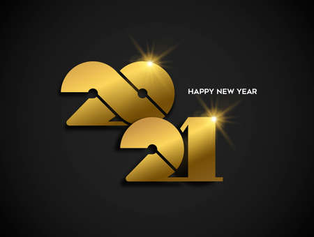 Happy New Year 2021 gold luxury greeting card design. Modern golden calendar date number sign on black background. Ilustracja
