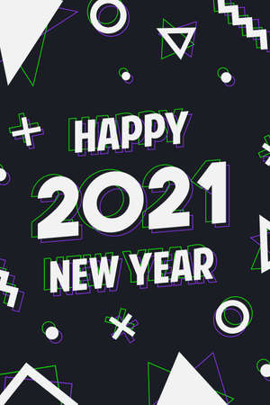 Happy New Year 2021 modern greeting card illustration. Calendar number quote and geometric shapes in holographic art style for web or cyber concept. Festive holiday eve design. Ilustracja