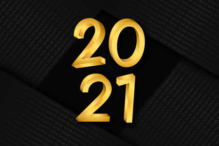 Happy New Year 2021 banner. 3D gold calendar number in luxury gold color with black  paper fold background for holiday event invitation or seasons greetings.