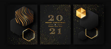 Merry Christmas Happy New Year 2021 modern luxury greeting card set. Futuristic 3D geometric shape illustration collection with gold glitter and golden abstract shapes for VIP party event.