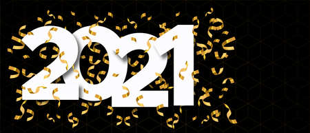 Happy New Year 2021 web banner illustration with calendar number date sign and luxury gold party confetti explosion for elegant holiday event. Ilustracja