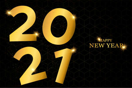 Happy New Year 2021 gold luxury greeting card design. Modern golden calendar date number sign on black geometric background with glitter dust.