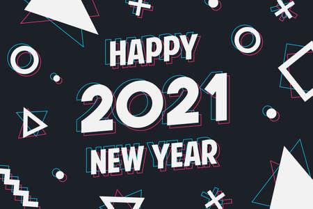 Happy New Year 2021 greeting card. Calendar number quote and geometric shapes in holographic art style for web or cyber concept. Festive holiday eve design.
