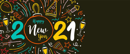 Happy New Year 2021 web banner illustration. Colorful christmas bauble ornament with party doodle decoration. Includes firework explosion, balloon, cocktail drink.