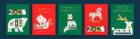 Merry Christmas greeting card set. Vintage scandinavian animal collection with luxury gold geometric shapes. Holiday winter fauna in mid century style includes polar bear, deer, dove bird.