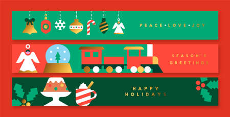Merry Christmas Happy New Year thin web banner set. Luxury gold scandinavian animal folk collection. Holiday decoration in modern nordic style includes ornament bauble, children toys, seasonal food. Ilustracja