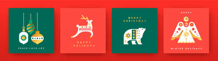 Merry Christmas greeting card set. Vintage scandinavian folk collection with luxury gold geometric shapes. Holiday decoration in mid century style includes angel ornament, deer and polar bear. Ilustracja