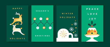 Merry Christmas greeting card illustration set of green party decoration with luxury gold winter shapes in trendy geometric folk style. Modern scandinavian design includes deer, igloo, xmas lights.