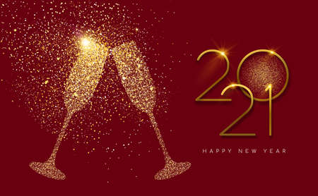 Happy new year 2021 gold champagne glass celebration toast made of realistic golden glitter dust. Ideal for holiday card or elegant party invitation.