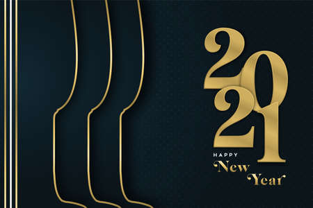 Happy New Year 2021 greeting card illustration, gold champagne drink glass with luxury golden calendar date sign. Elegant party celebration invitation or season's greetings design. Ilustracja