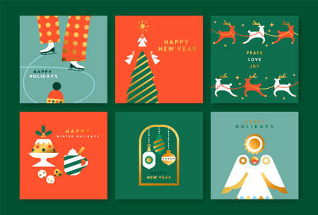 Merry Christmas greeting card set. Vintage scandinavian collection with luxury gold geometric shapes. Holiday decoration in mid century style includes angel ornament, reindeer and ice skating people.