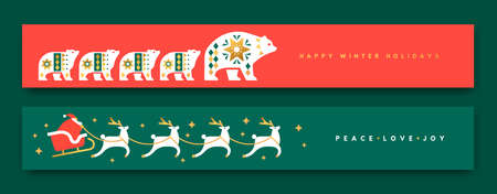 Merry Christmas Happy New Year thin web banner set. Luxury gold scandinavian animal folk collection. Holiday decoration in retro nordic style includes polar bear family, santa claus reindeer sled.