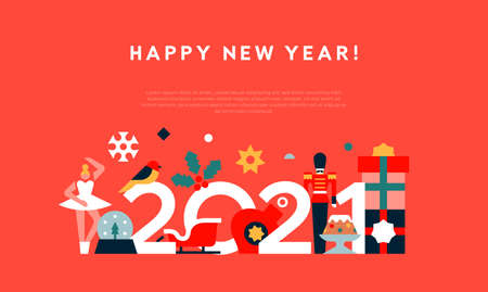 Happy New Year 2021 greeting card template illustration. Abstract flat cartoon holiday decoration in modern geometric shape style. Includes toy soldier, gift, santa claus sled.