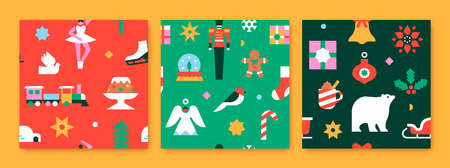 Merry Christmas seamless pattern illustration set of modern flat geometric xmas decoration icons. Festive celebration icon background includes colorful ornament, snowflake, santa sled, children toys. Vectores