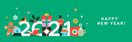 Happy New Year 2021 web banner illustration. Abstract flat cartoon holiday decoration in modern geometric shape style. Includes toy soldier, gift, santa claus sled.