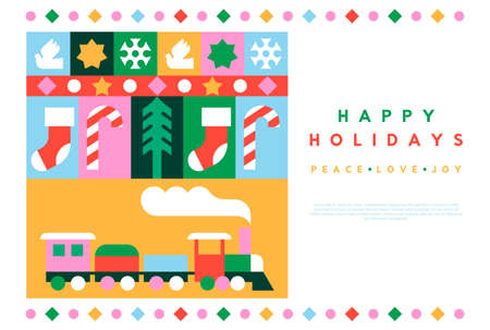Merry Christmas web template illustration of xmas icons in colorful geometric flat style. Modern celebration mosaic includes gift, bird, pine tree, santa sled, children toy and ornament decoration. Vectores