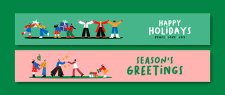 Merry Christmas Happy New Year thin web banner illustration set. Flat cartoon friends together in diverse xmas holiday scenes. Trendy doodle character social media cover collection.