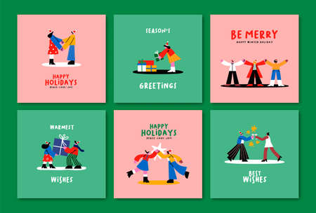 Merry Christmas Happy New Year greeting card illustration collection. Flat cartoon friends together in diverse xmas holiday scenes. Trendy doodle character template set.