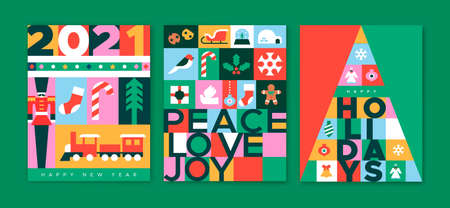 Merry Christmas greeting card set of modern flat geometric icons in traditional folk art style. Colorful xmas season decoration includes children toys, pine tree, gift and winter ornaments.