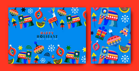 Happy holiday greeting card and pattern set. Childish folk art style illustration collection. Colorful winter season decoration includes reindeer, bear, christmas tree.