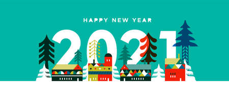 Happy New Year 2021 greeting card illustration, modern winter village in flat geometric scandinavian style with festive pine tree and christmas houses for event invitation or seasonal greetings. Vectores