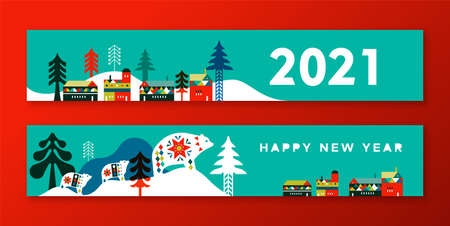 Happy new year 2021 thin web banner illustration set. Modern flat scandinavian art style landscape with winter city houses, pine tree forest and cute polar bear family.