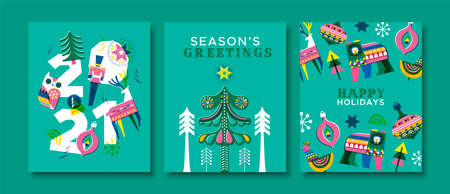 Happy holiday and new year 2021 greeting card set. Traditional vintage folk art style illustration collection. Colorful winter season decoration includes reindeer, bear, christmas tree.