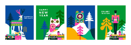 Happy winter holiday greeting card set. Modern flat geometric illustration collection in scandinavian art style. Winter city with colorful pine tree forest, deer, bear and christmas houses.