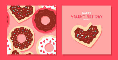 Happy Valentine's Day greeting card and seamless pattern set. Cute heart shape donut with pink chocolate cookie cartoon collection. February 14 holiday event background.