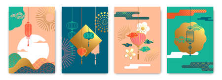 Colorful asian celebration background template set. Luxury gold illustration with traditional chinese lantern, firework and minimalist landscape. China or japanese culture festival poster collection.