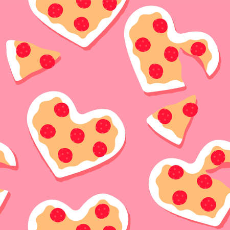 Heart shape cheese pizza cartoon seamless pattern. Funny valentines day food, hand drawn italian background for holiday print. Cute dinner, restaurant date concept wallpaper.