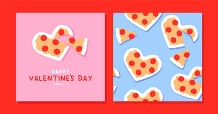 Happy Valentine's Day greeting card and seamless pattern set. Cute heart shape cheese pizza cartoon collection. February 14 holiday event background.